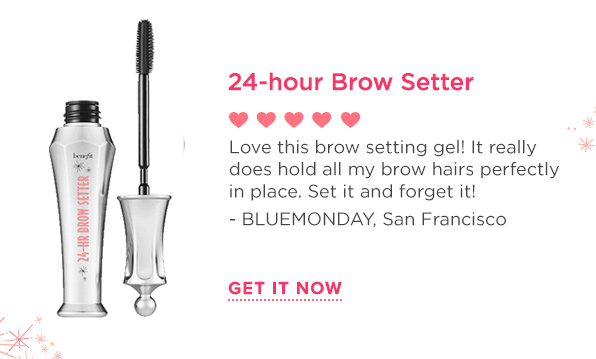 This 24-hour* clear brow gel shapes & tames brows and locks on makeup so brows don't pull a disappearing act. The custom-molded, dual-sided wand coats hairs from root to tip and the flexible, flake-free formula is easy to apply and quick to dry. Includes signature Tips & Tricks!